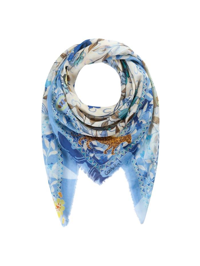 Codello Softes Flower-Tuch mit Leo-Motiven aus Baumwolle und Modal, jeans blue