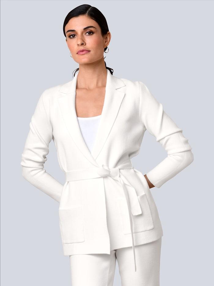 Alba Moda Cardigan mit Bindegürtel, Off-white