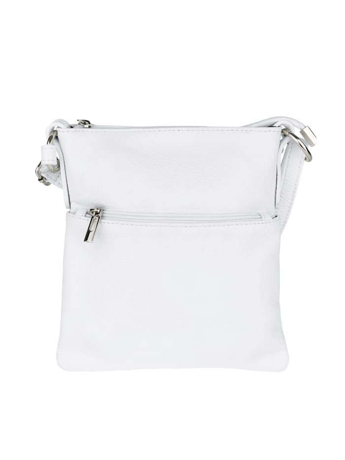 Aimée Shoulder bag made from premium leather, White