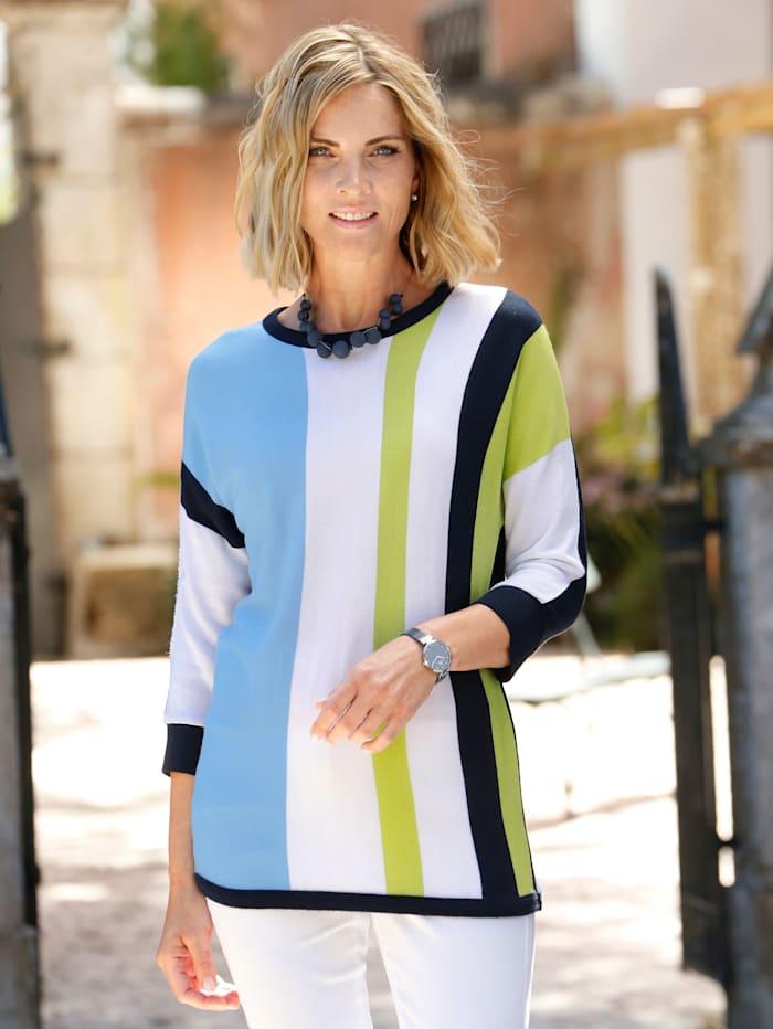 Paola Pullover mit grafischem Streifenmuster, Marineblau/Lindgrün