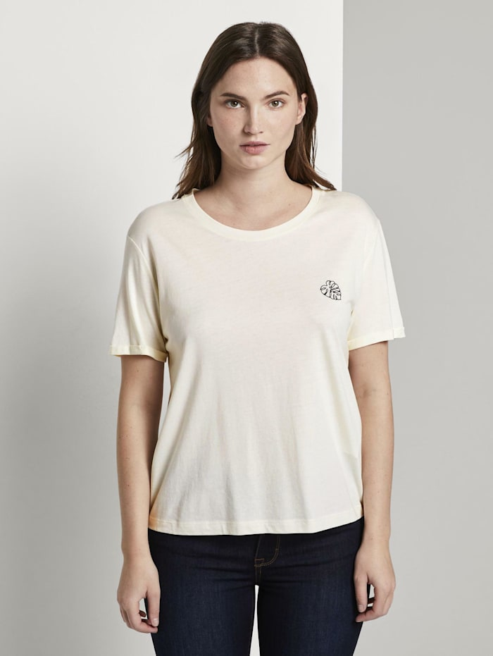 Tom Tailor mine to five Lockeres T-Shirt mit kleiner Stickerei, soft ecru