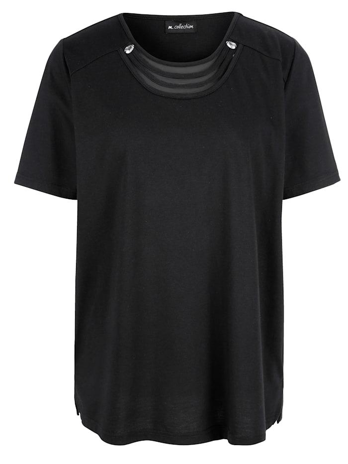 Shirt met luxueuze details langs de hals