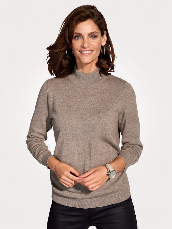 MONA Cashmere jumper with a stand collar, Beige