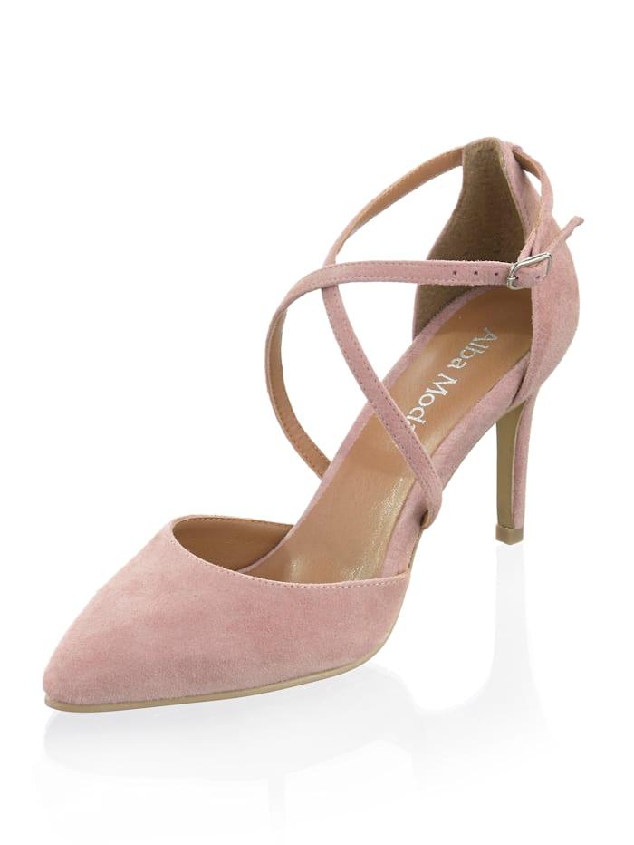 Alba Moda Pumps aus Veloursleder, Rosé