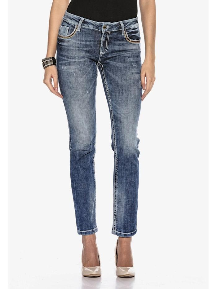 Cipo & Baxx Jeanshose mit Stickerei auf den Gesäßtaschen in Straight-Fit, Blau