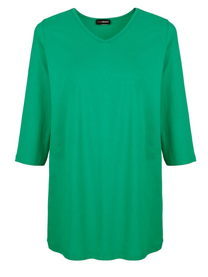 MIAMODA Tričko s prodlužujícím výstřihem do V, Zelená