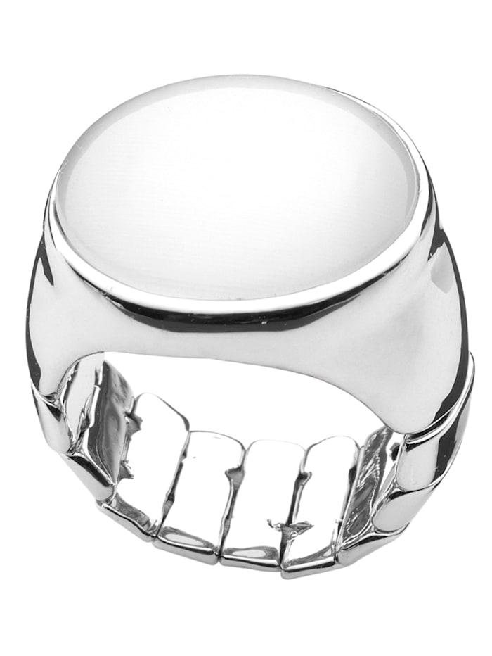 Damenring mit Glasstein, Weiß