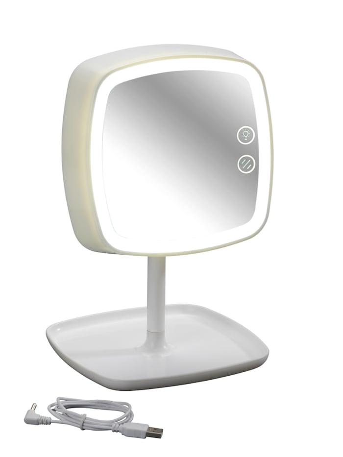 Wenko LED-Kosmetikspiegel & Tischleuchte Ostia, 5-fach Vergrößerung, Weiß