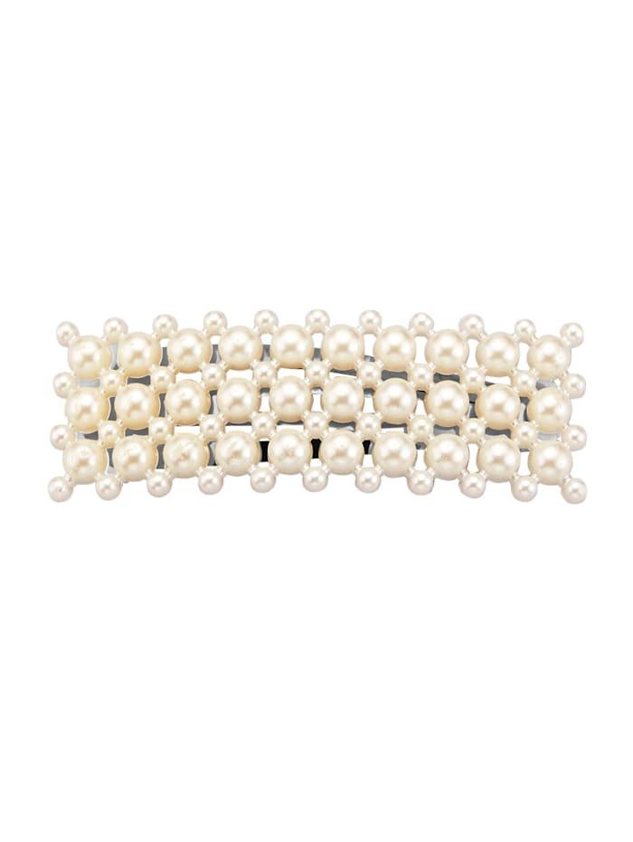 Barrette à cheveux avec perles de coquillage, Blanc