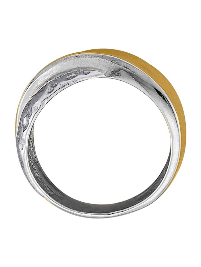 Damesring van zilver en 14 kt. geelgoud