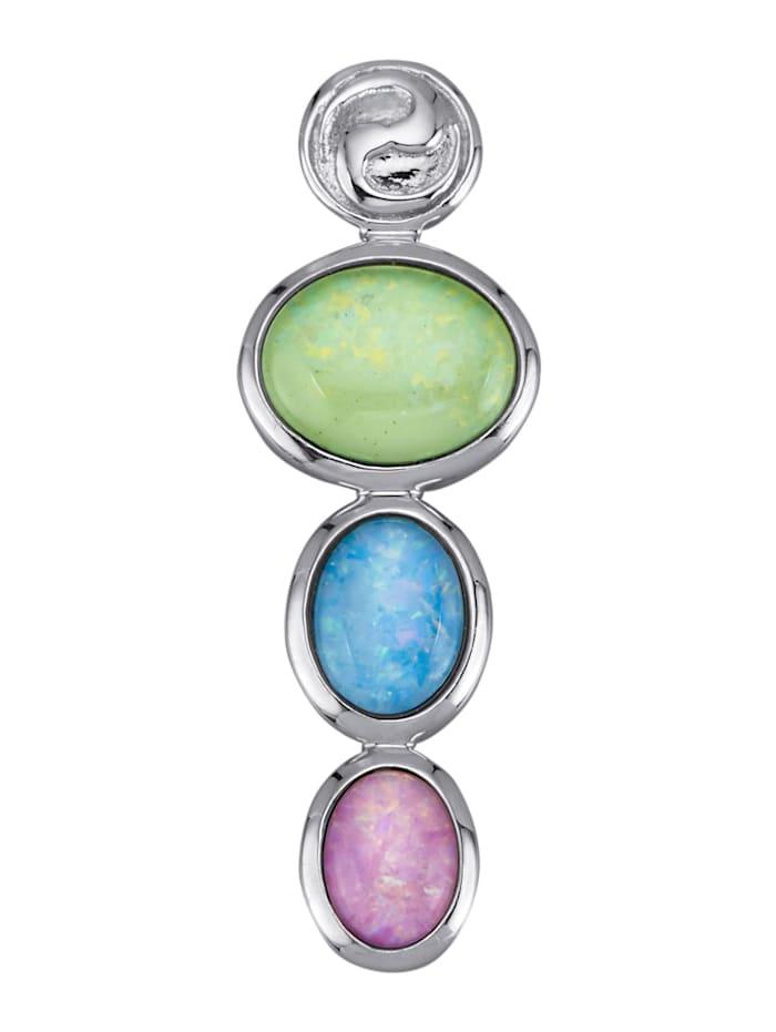 Diemer Farbstein Anhänger mit multifarbenen Opal-Tripletten-Cabochons, Multicolor