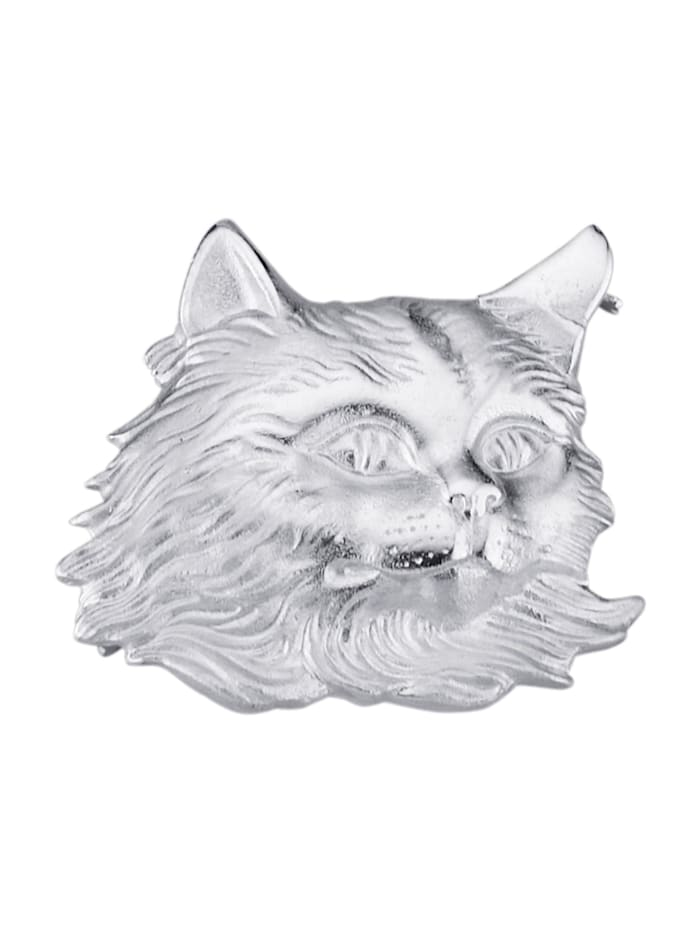 Diemer Trend Brosche mit Katzenmotiv, Silberfarben