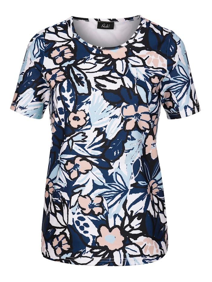 Paola Shirt met bloemendessin rondom, Marine/Zwart/Lichtbruin