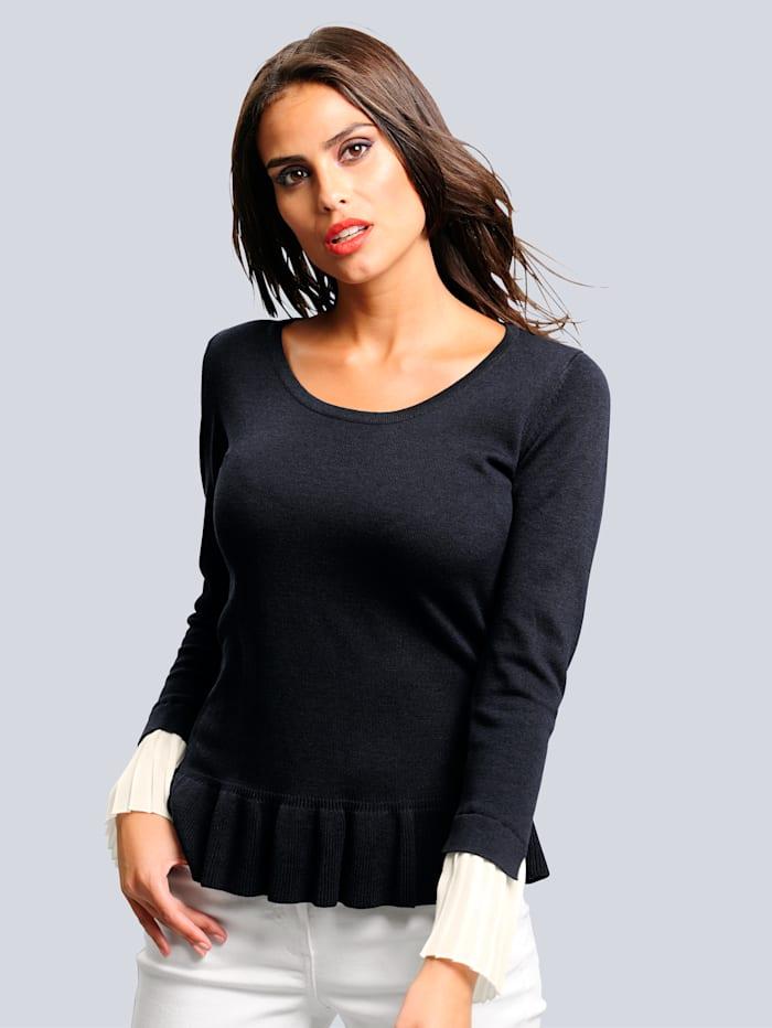 Pullover mit Chiffoneinsatz am Ärmelsaum