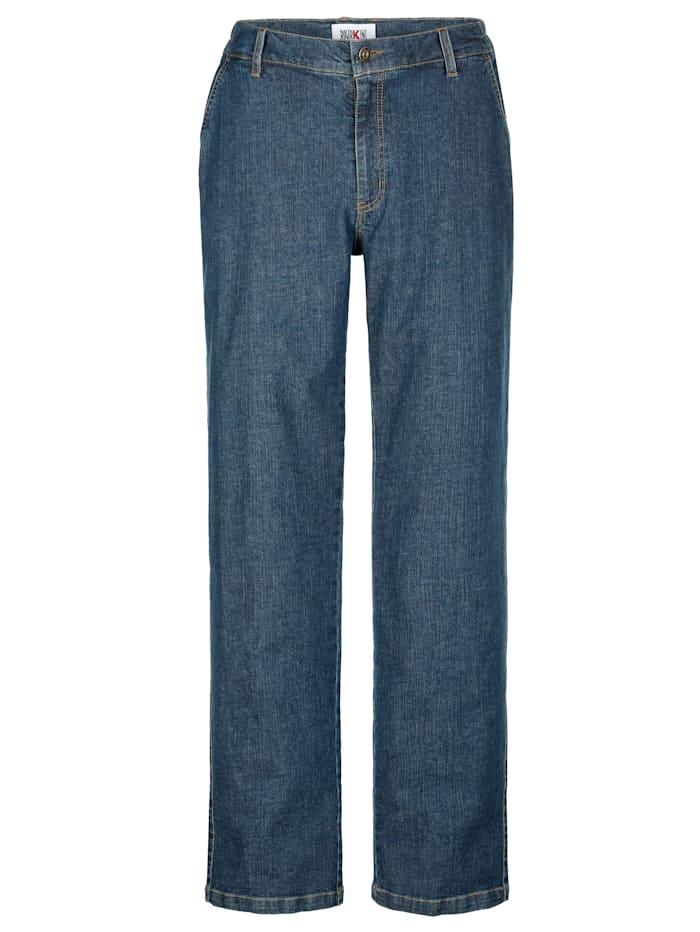 Roger Kent Jeans met elastische bandinzetten opzij, Blue stone