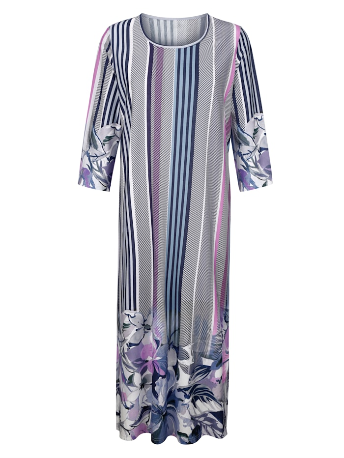 Harmony Hauskleid mit hübschem Bordürendruck rundum, Blau/Ecru/Lila