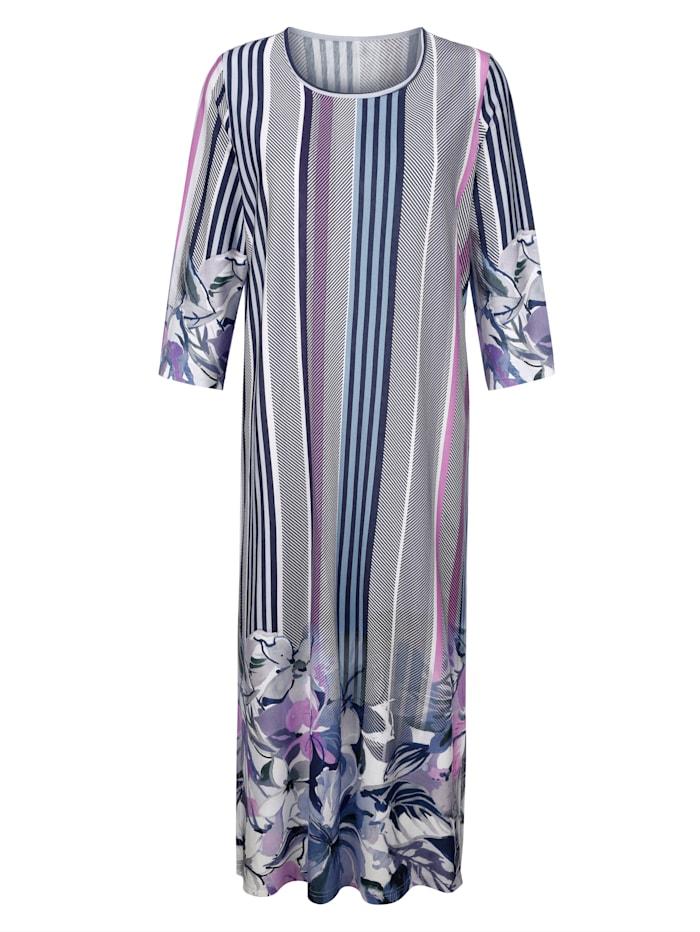 Harmony Robe d'intérieur à ravissante bordure imprimée, Bleu/Écru/Lilas