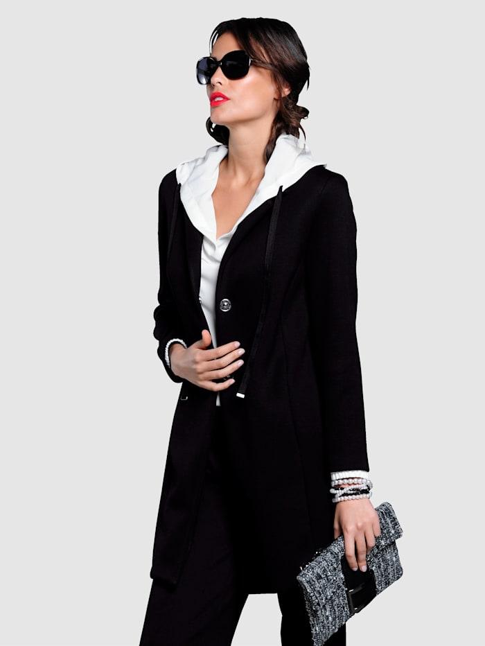 Alba Moda Kabát z velmi pohodlné elastické scuba kvality, Černá