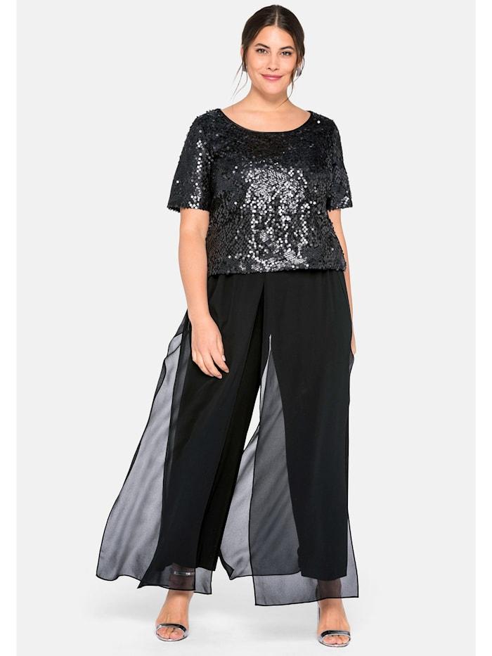 Sheego Sheego Jumpsuit mit matt schimmernden Pailletten, schwarz