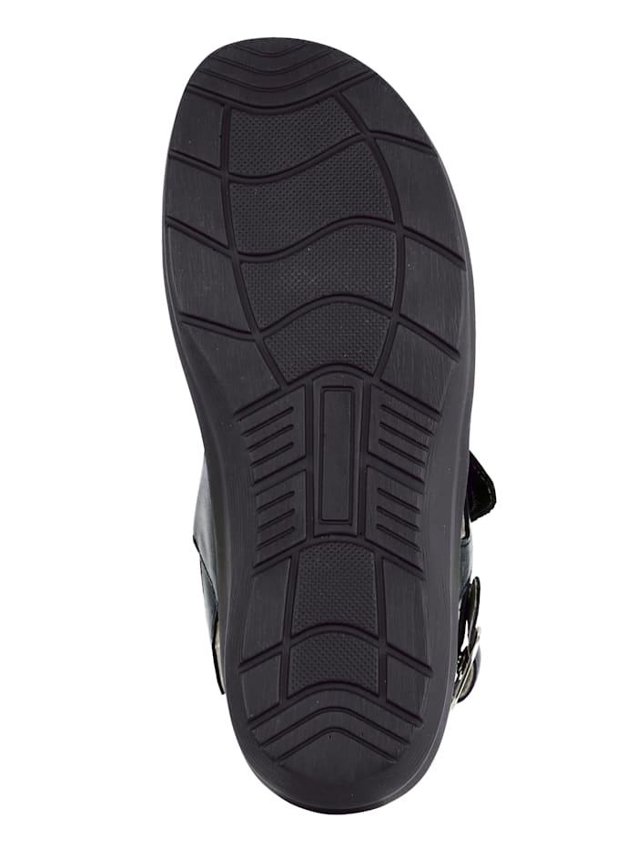 Waldläufer Sandale mit attraktiven Ziersteinchen, Schwarz