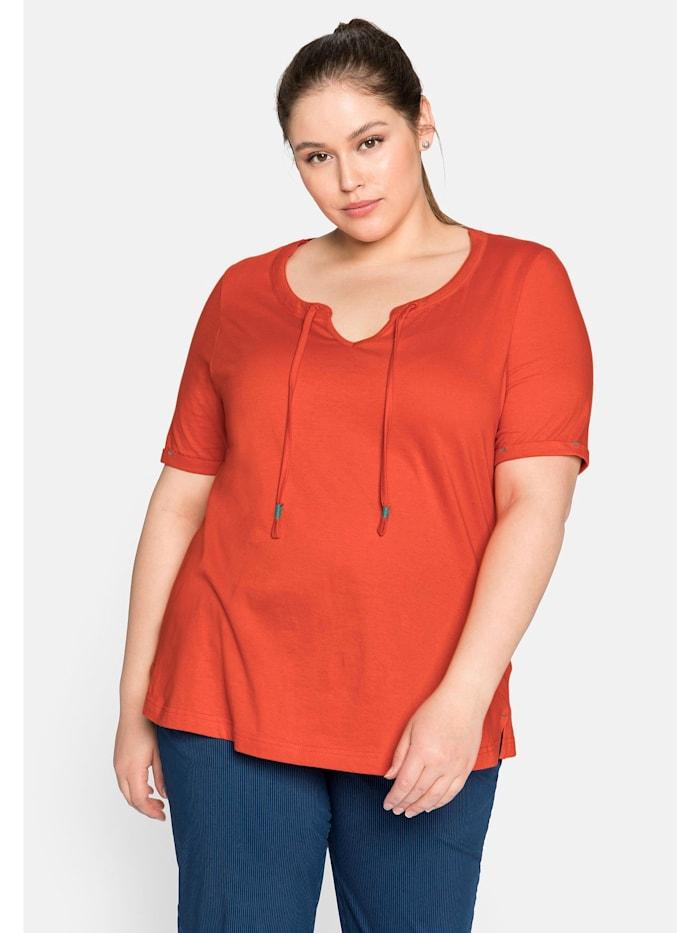 Sheego Sheego T-Shirt mit Bindeband am Auschnitt, rostorange