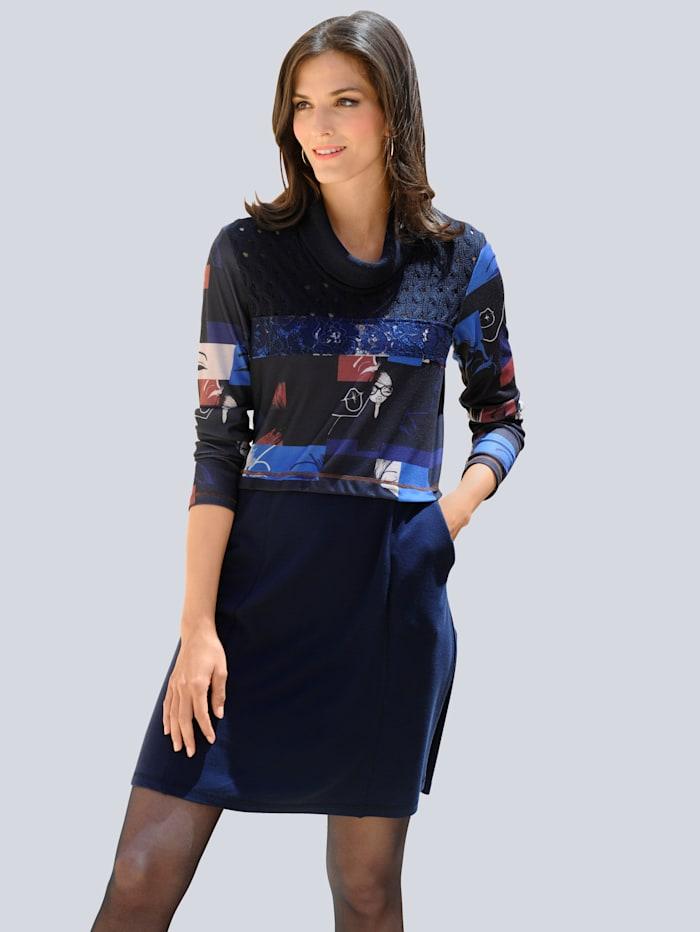 Alba Moda Kleid in modischer Patch-Optik, Marineblau/Cognac