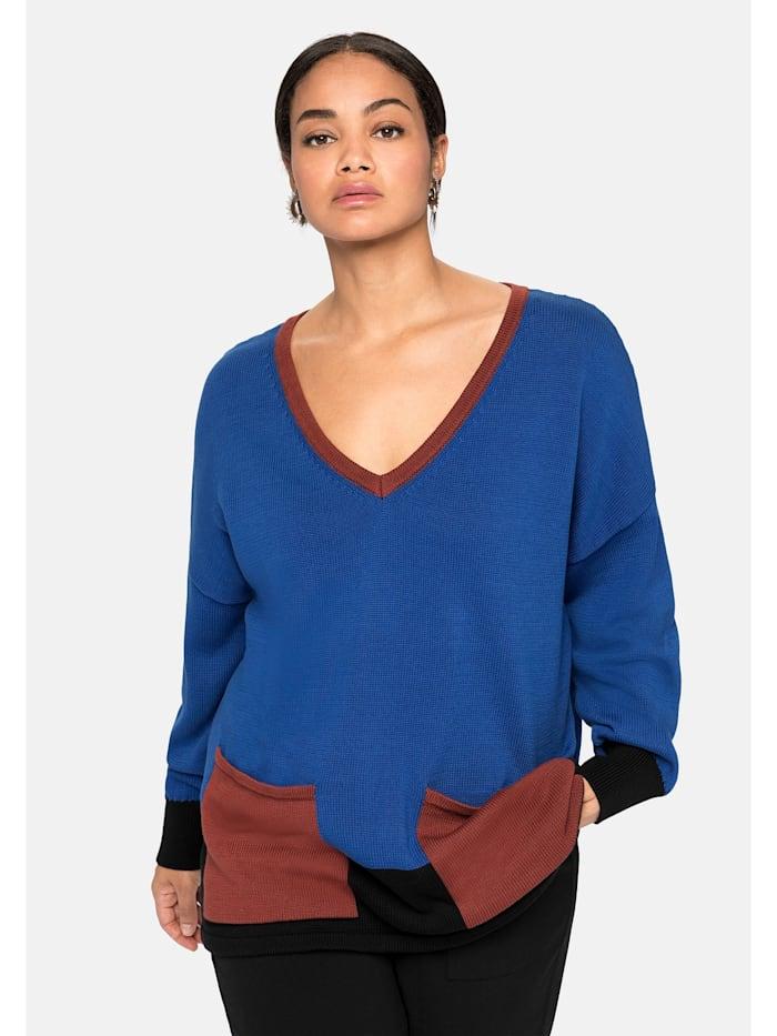 Sheego Pullover im Colourblocking-Stil, royalblau