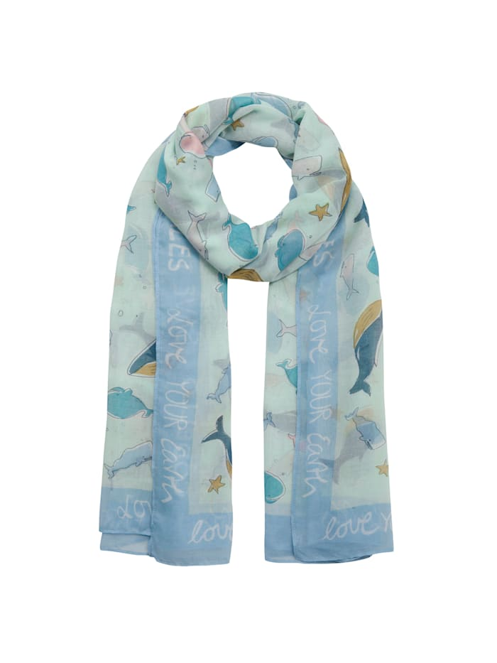"""Codello Take Care Schal """"Whale Love"""" aus recyceltem Polyester, mint"""