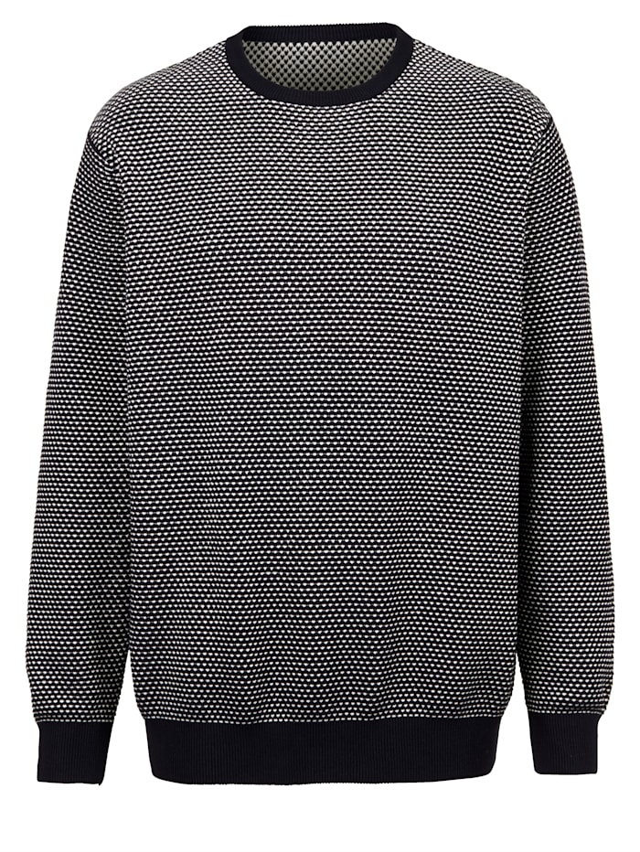 Men Plus Pullover mit aufwendigem Strukturstrick, Marineblau/Off-white