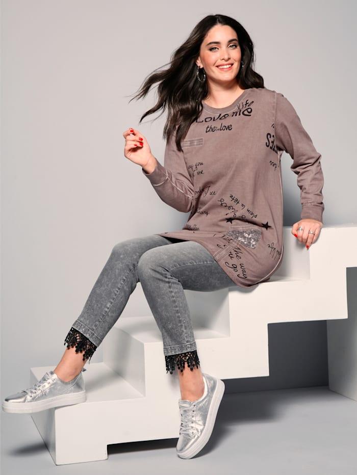 MIAMODA Sweatshirt in oil washed look, Roze
