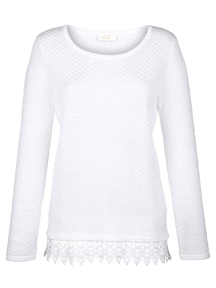 Paola Pullover mit Spitzensaum, Weiß