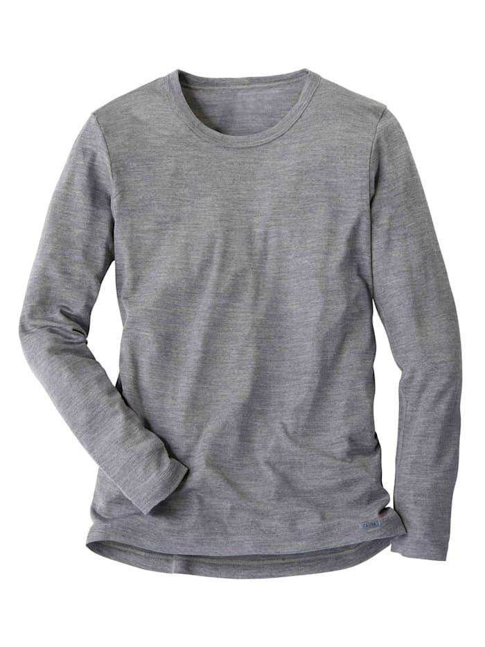 Calida Langarm-Shirt aus Wolle und Seide STANDARD 100 by OEKO-TEX zertifiziert, Platin Melé