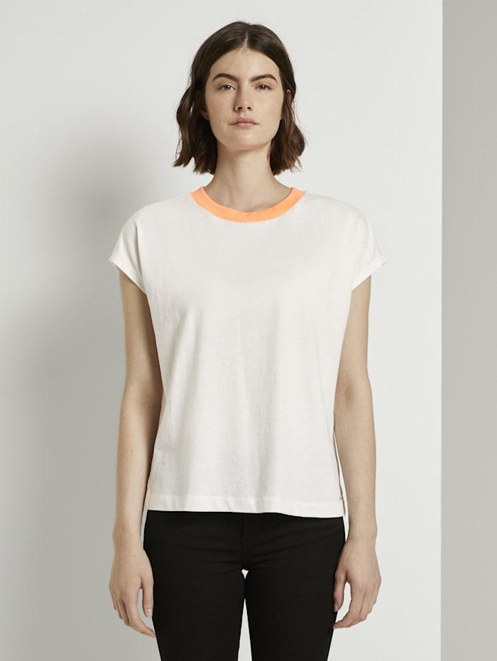 Tom Tailor Denim Schlichtes T-Shirt mit Stehkragen, Off White