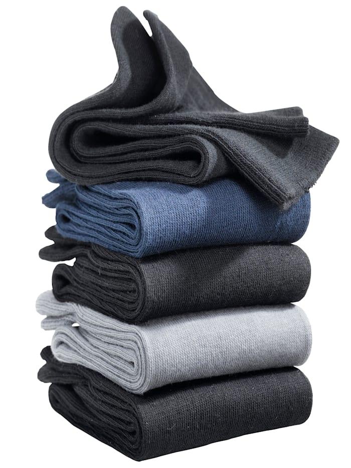 BABISTA Herren 5er Pack Socken in verschiedenen Farben, Schwarz/Marineblau/Dunkelgrau