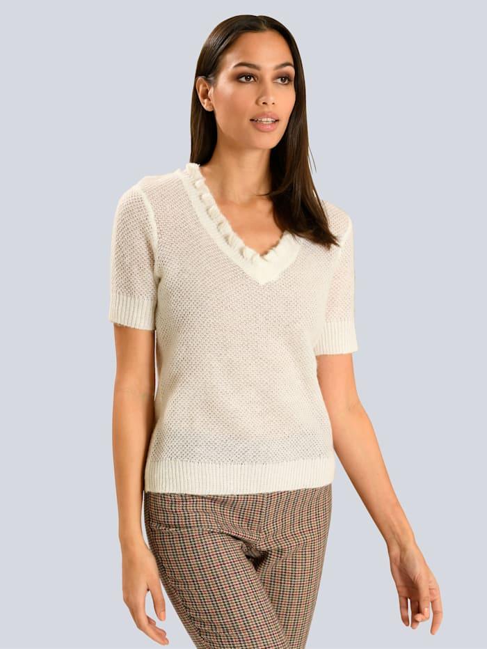 Alba Moda White Pullover in semitransparentem Strick, Weiß