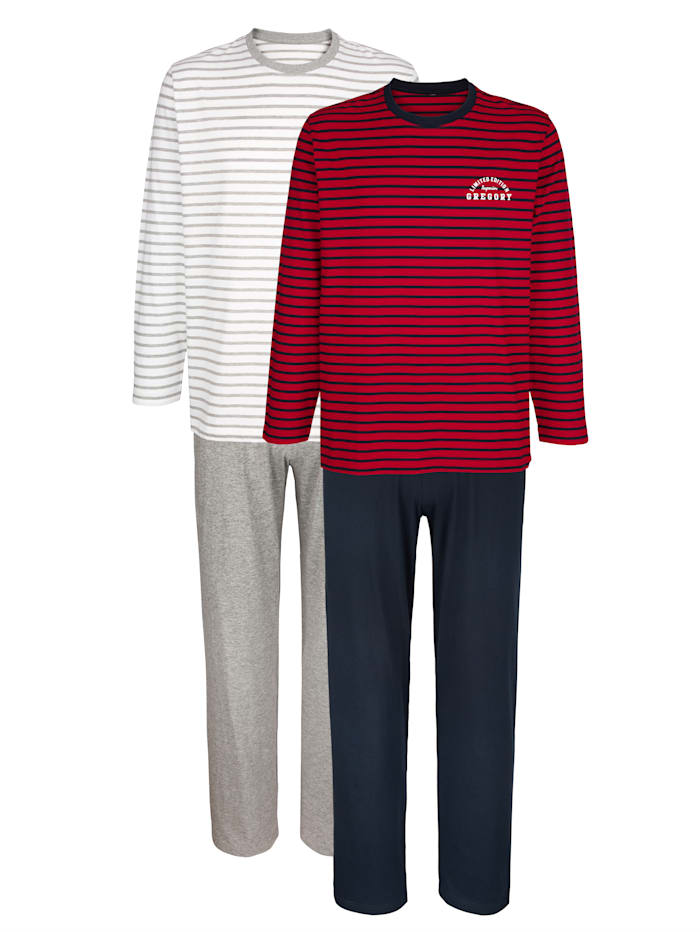 Pyjama's 2 stuks, 1x rood/marine, 1x grijs gemêleerd
