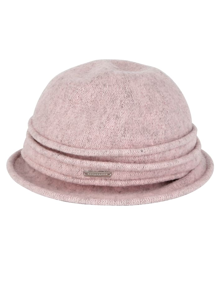 Seeberger Chapeau en laine, Rose chiné