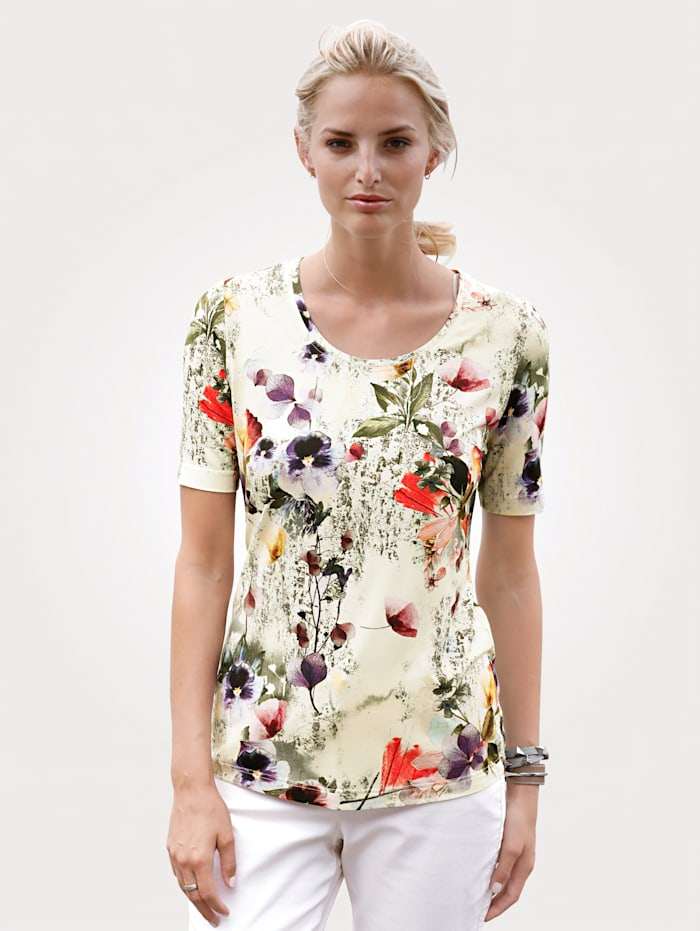 MONA Top with a floral print, Beige/Olive