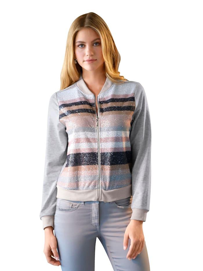 AMY VERMONT Shirt mit Pailletten im Vorderteil, Grau/Rosé/Beige/Weiß