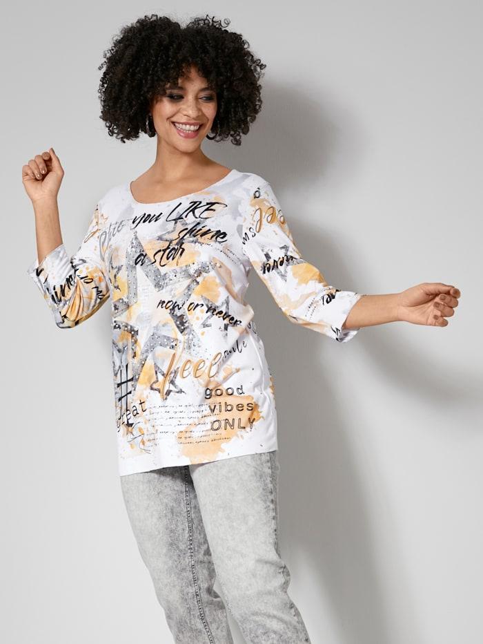 Angel of Style Shirt mit Dekoperlen und Steinchen, Gelb/Grau
