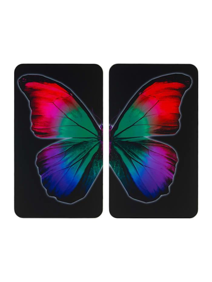 Wenko Herdabdeckplatte Universal Butterfly by Night 2er Set, für alle Herdarten, Platte: Mehrfarbig, Füße: Grau - Hellgrau, Saugnäpfe: Transparent