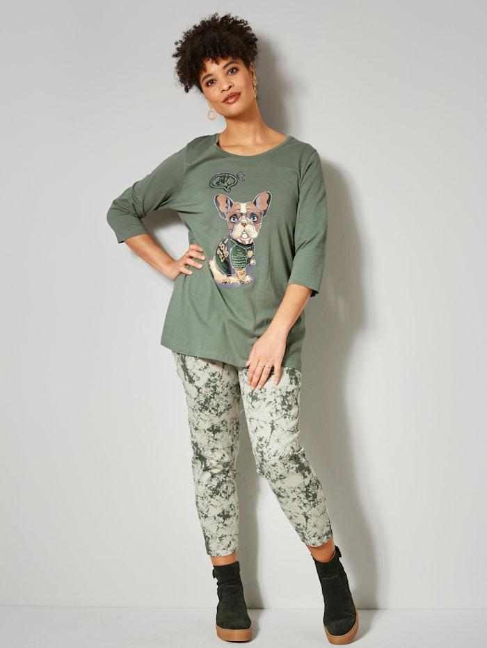 Angel of Style Broek met trendy batikprint, Olijf/Kaki