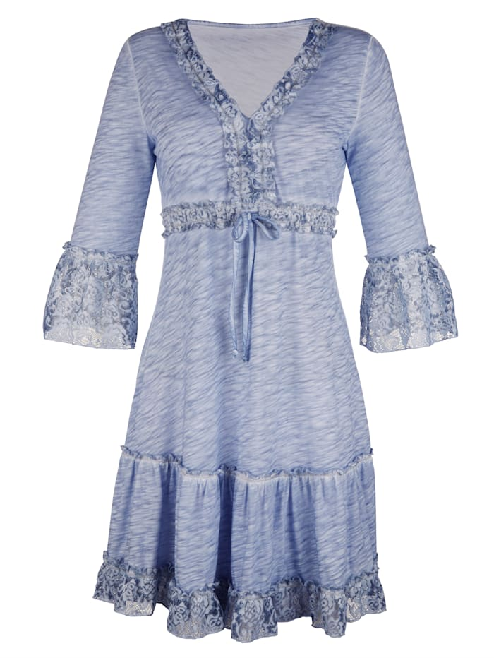 Jersey jurk met beleg van kant