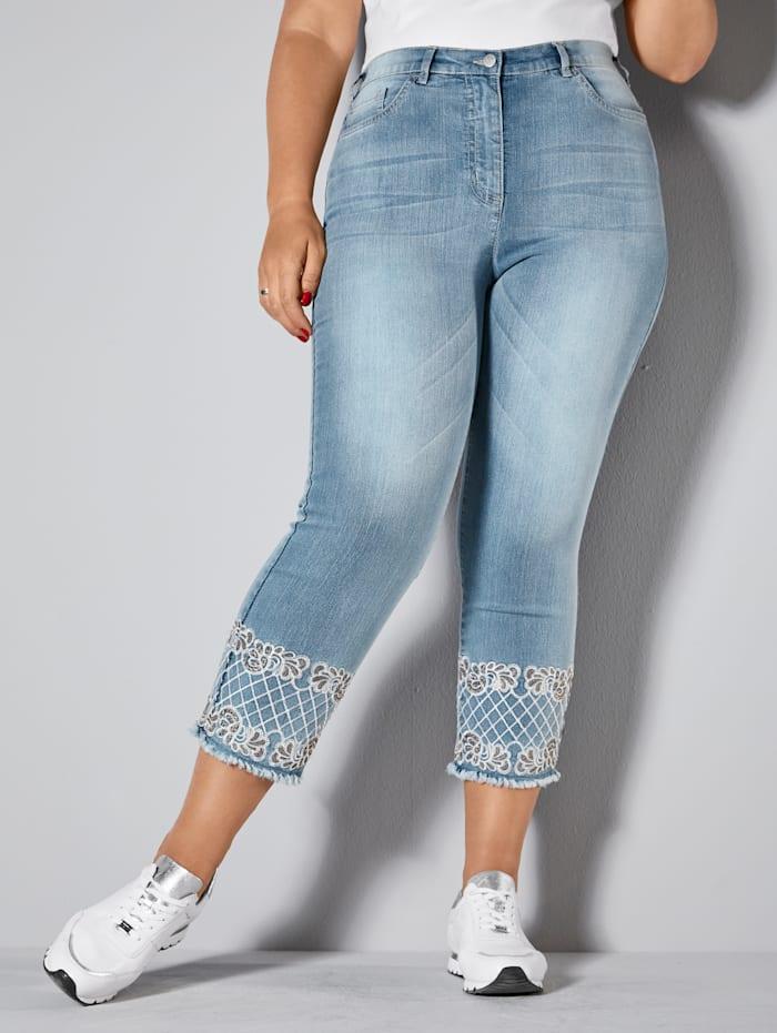 MIAMODA Jeans mit modischer Stickerei, Blue bleached