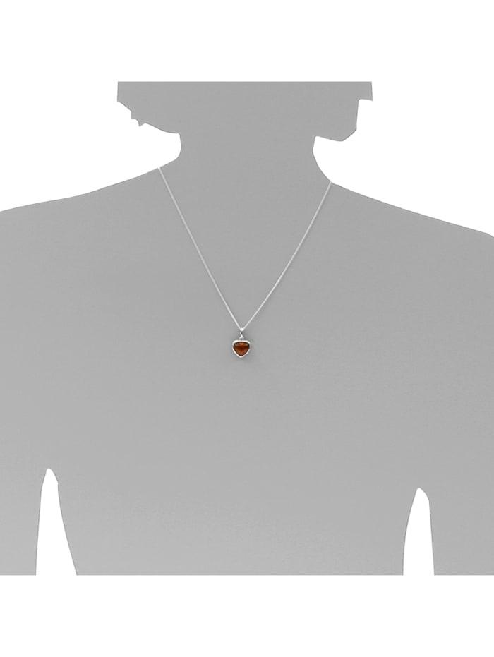 Kette mit Anhänger - Herz 13 mm - Silber 925/000 - Bernstein