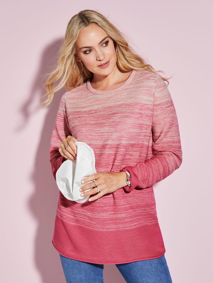 MIAMODA Pullover mit femininem Ausschnitt, Pink