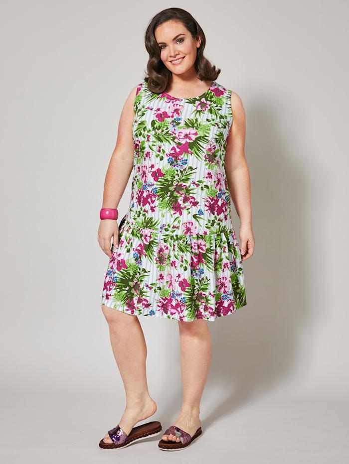 Raita- ja kukkakuvioitu mekko