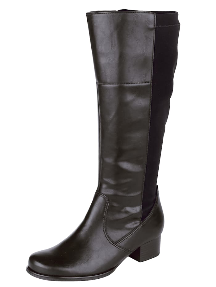Jenny Knee high boots with elasticated inserts, Black
