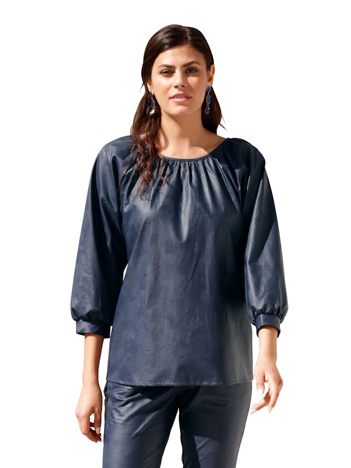 AMY VERMONT Bluse mit PU-Beschichtung, Blau
