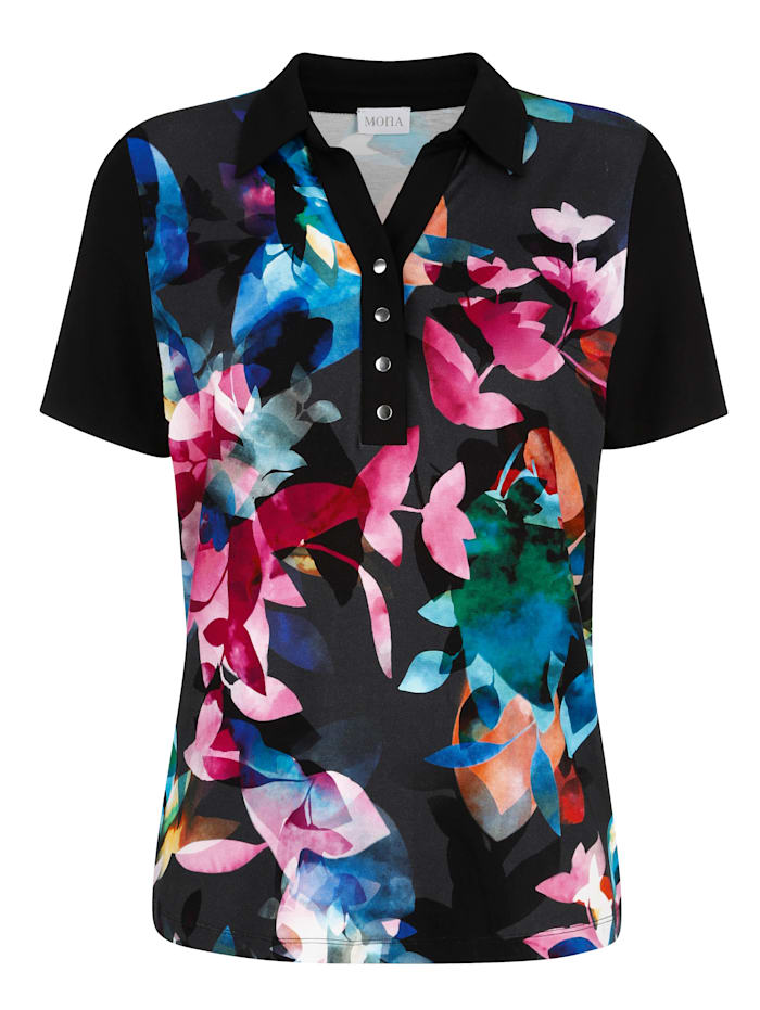 Polo shirt with a placed floral print